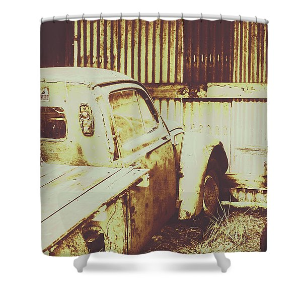 Rusty Pickup Garage Shower Curtain