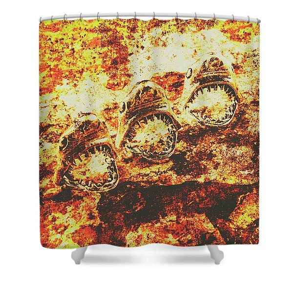 Rusty Shark Scene Shower Curtain