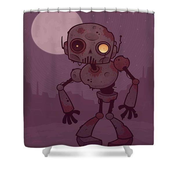 Rusty Zombie Robot Shower Curtain
