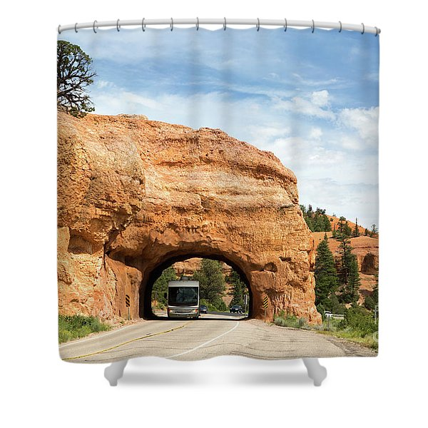 Rv Red Canyon Tunnel Utah Shower Curtain