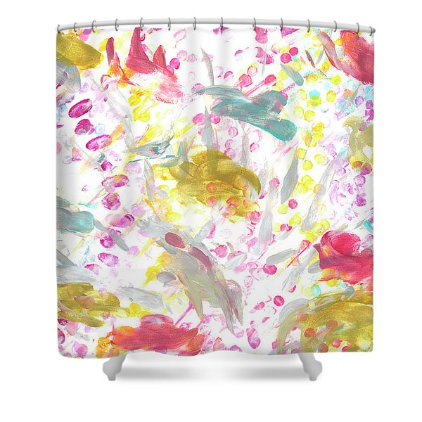Expanding Creation In Teal, Gold, Gray, Red, And Pink Shower Curtain