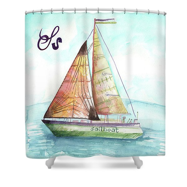 S Is For Sailboat Shower Curtain