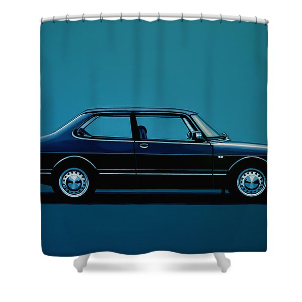 Saab 90 1985 Painting Shower Curtain