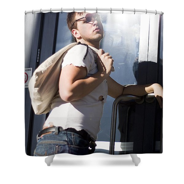 Sacked Man Entering Unemployment Office Shower Curtain