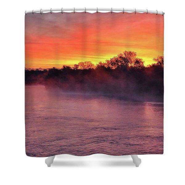 Sacramento River Sunrise Shower Curtain