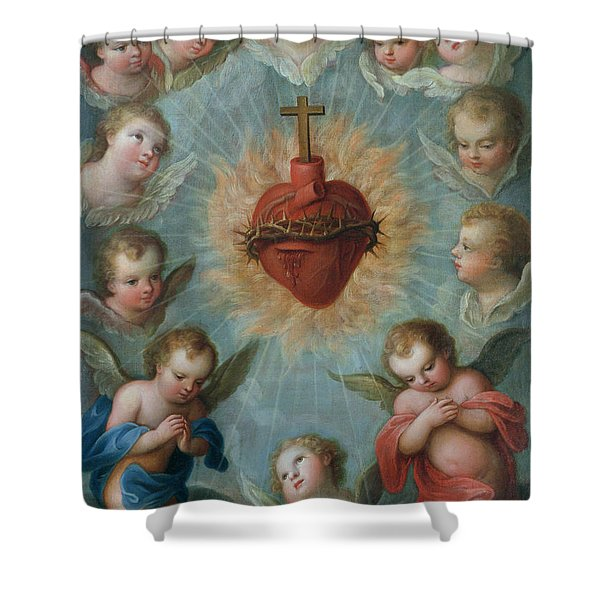 Sacred Heart Of Jesus Surrounded By Angels Shower Curtain