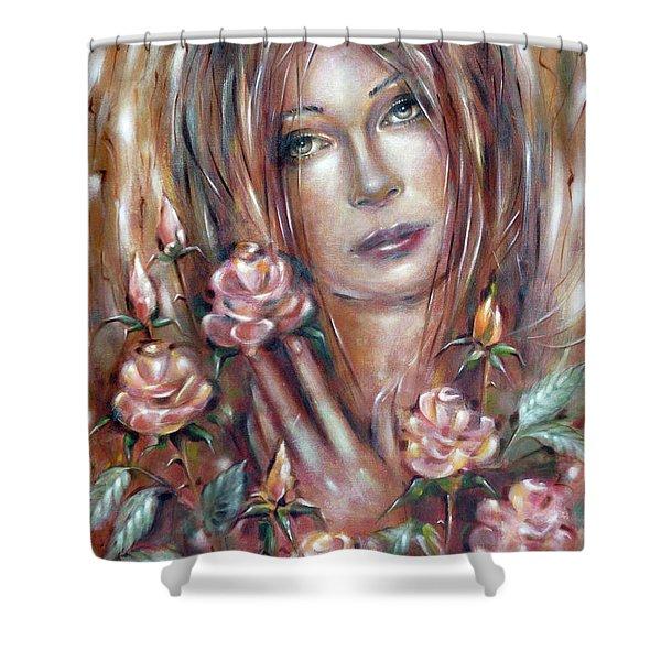 Sad Venus In A Rose Garden 060609 Shower Curtain