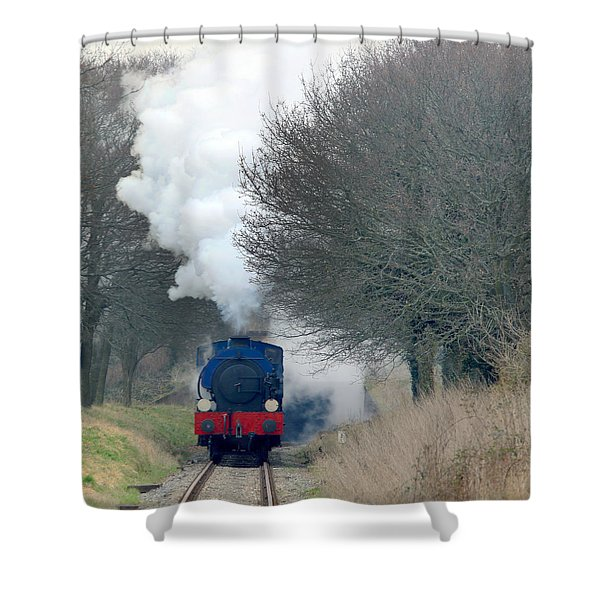 Saddle-tank Locomotive Puffing Uphill Shower Curtain