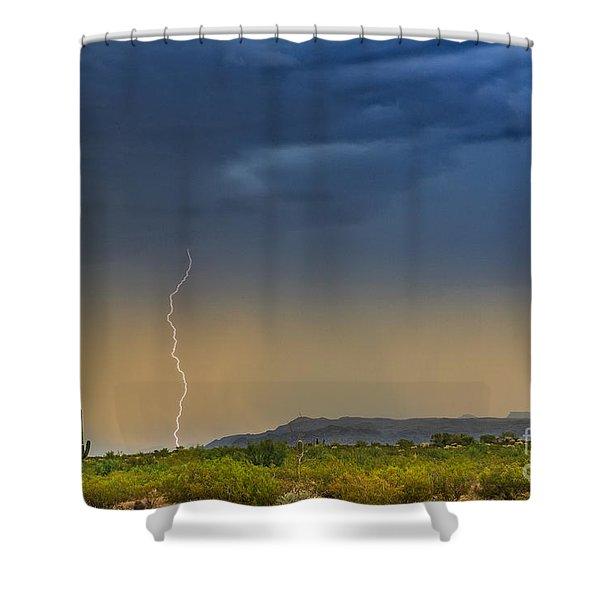 Saguaro With Lightning Shower Curtain