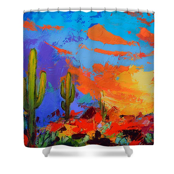 Saguaros Land Sunset By Elise Palmigiani - Square Version Shower Curtain