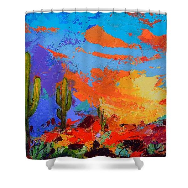 Saguaros Land Sunset Shower Curtain