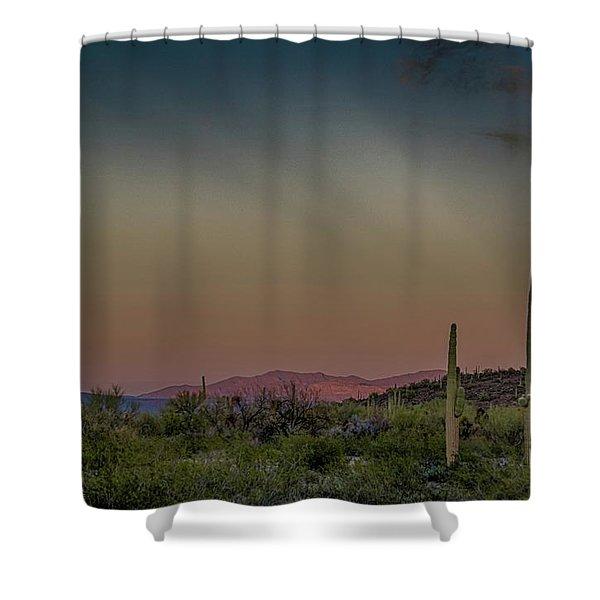 Saguaros Salute Rays Rising Shower Curtain
