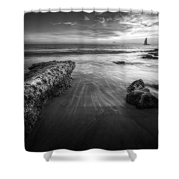 Sail Into The Sunset - Bw Shower Curtain