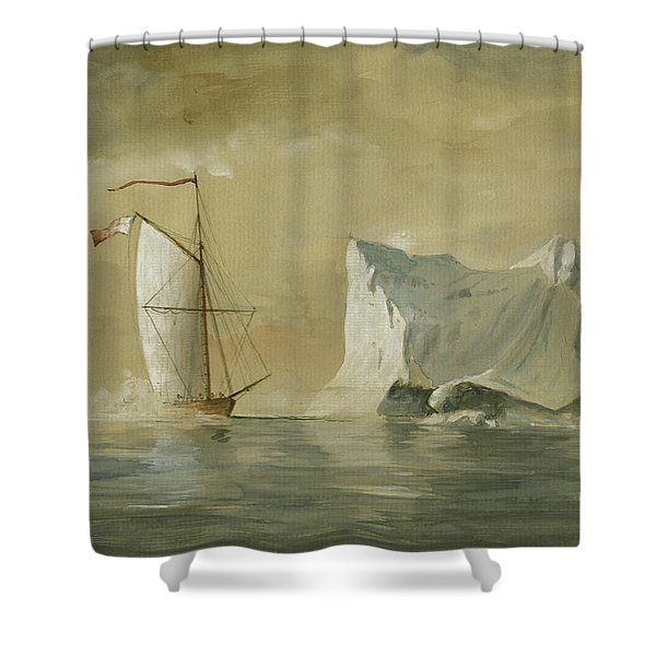 Sail Ship At The Ice Shower Curtain