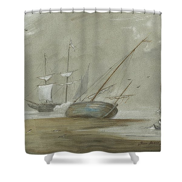 Sail Ships And Fishing Boats Shower Curtain