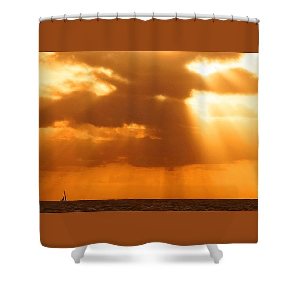 Sailboat Bathed In Hazy Rays Shower Curtain
