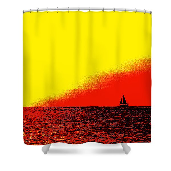 Sailboat Horizon Poster Shower Curtain