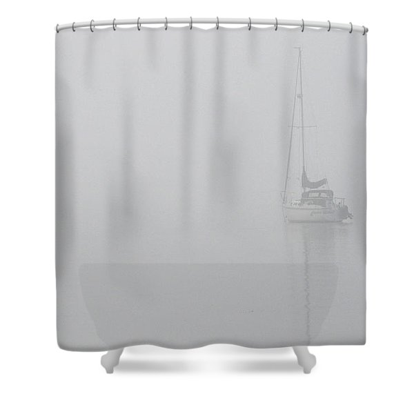 Sailboat In Fog Shower Curtain