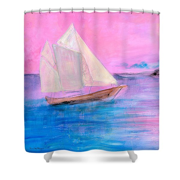 Sailboat In Pink Moonlight  Shower Curtain