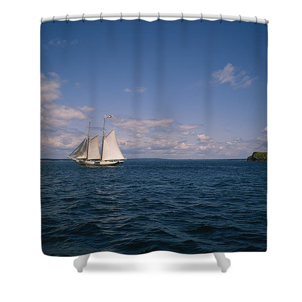 Sailboat In The Sea, St. Maarten Shower Curtain