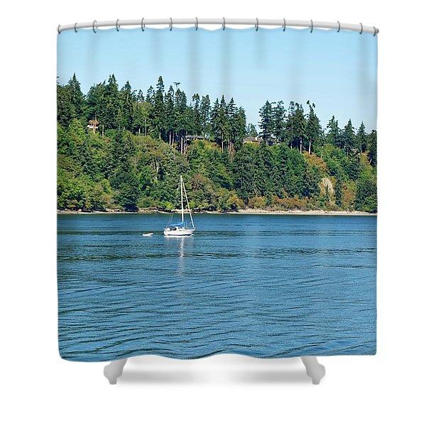 Sailboat Near San Juan Islands Shower Curtain