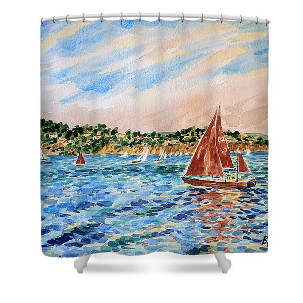 Sailboat On The Bay Shower Curtain