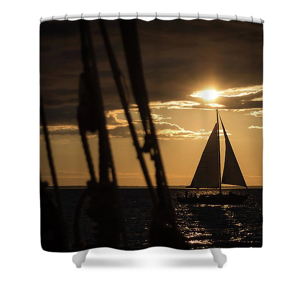 Sailboat On The Horizon Shower Curtain