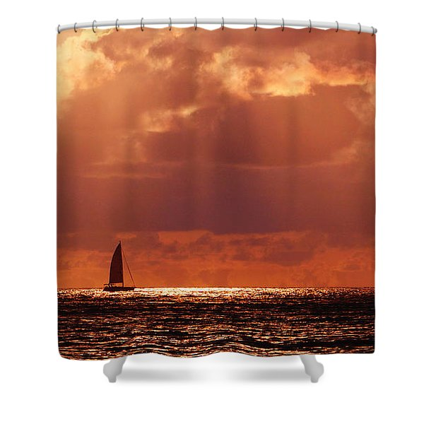 Sailboat Sun Rays Shower Curtain