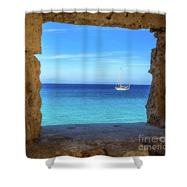 Sailboat Through The Old Stone Walls Of Rhodes, Greece Shower Curtain