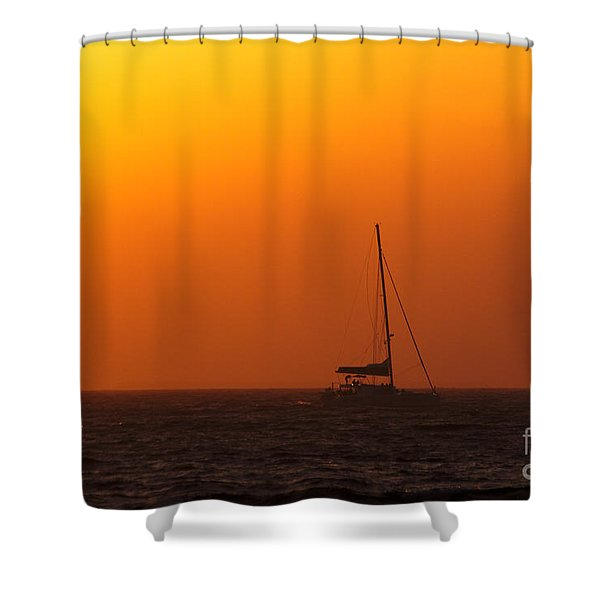 Shower Curtain featuring the photograph Sailboat Waiting by Jeremy Hayden