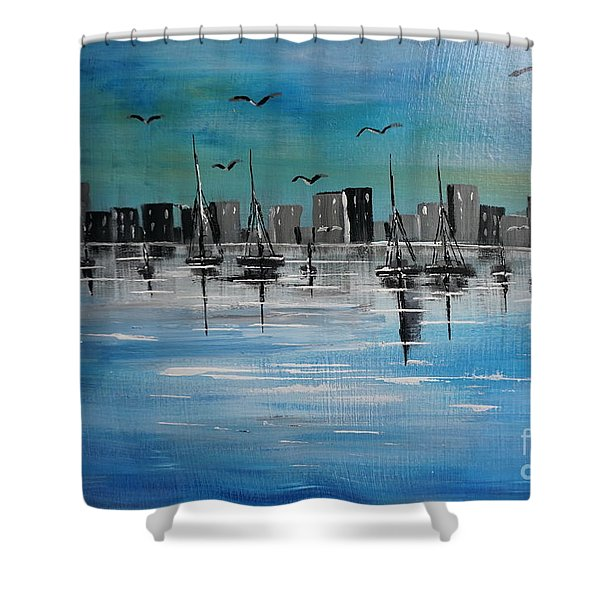 Sailboats And Cityscape Shower Curtain