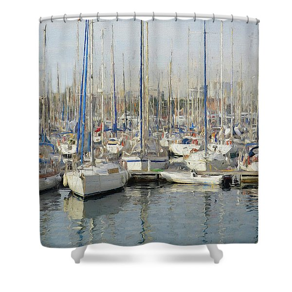 Sailboats At The Dock - Painting Shower Curtain