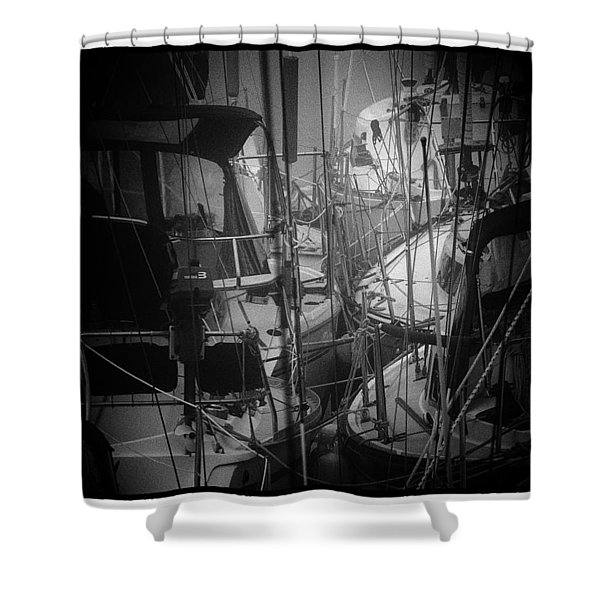 Sailboats Berthed In The Fog Shower Curtain