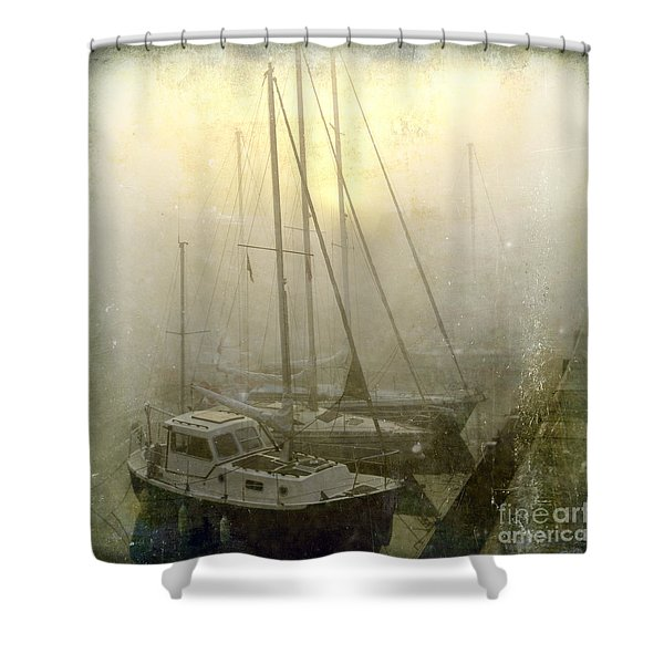 Sailboats In Honfleur. Normandy. France Shower Curtain