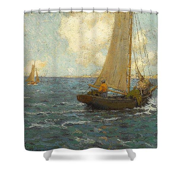 Sailboats On Calm Seas Shower Curtain