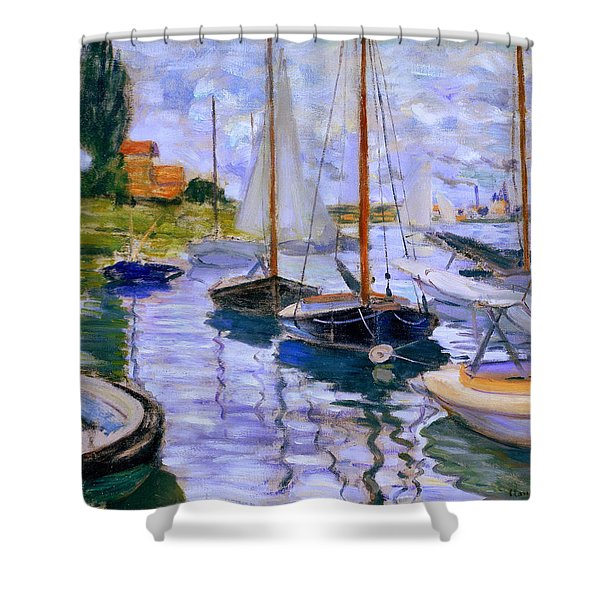 Sailboats On The Seine At Petit Gennevilliers Claude Monet 1874 Shower Curtain
