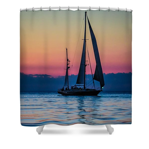 Sailing After Sunset Shower Curtain