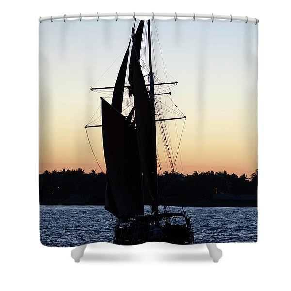 Sailing At Sunset Shower Curtain
