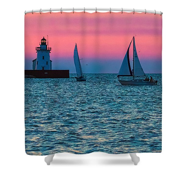 Sailing At The Cleveland Lighthouse  Shower Curtain