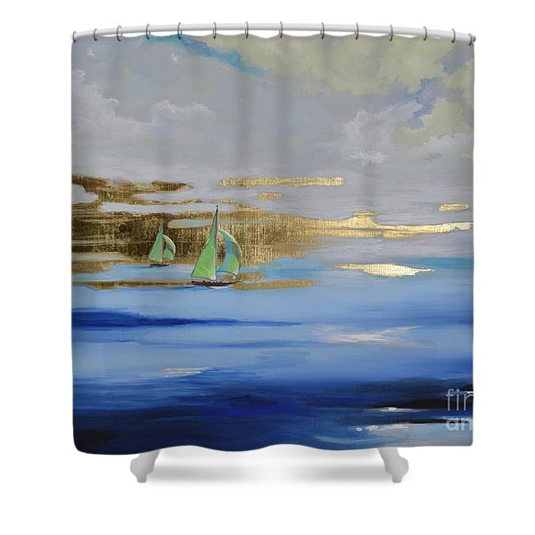 Shower Curtain featuring the painting Sailing Away by Mary Scott