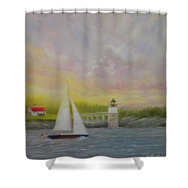 Sailing By Ram Island Shower Curtain