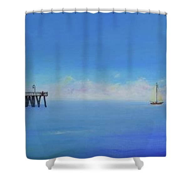 Shower Curtain featuring the painting Sailing By San Clemente by Mary Scott
