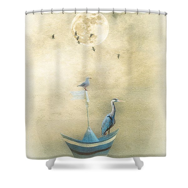 Sailing By The Moon Shower Curtain
