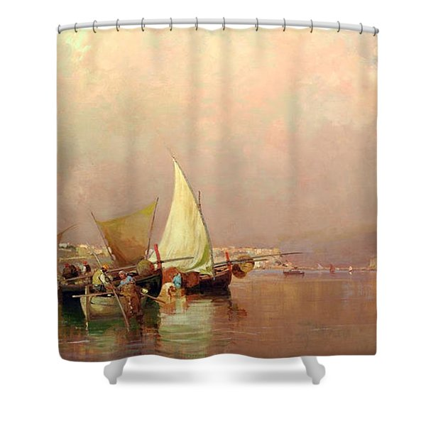 Shower Curtain featuring the painting Sailing Fishermen Boats In Naples by Rosario Piazza