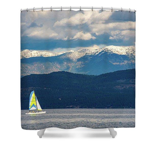 Sailing Flathead Lake Shower Curtain