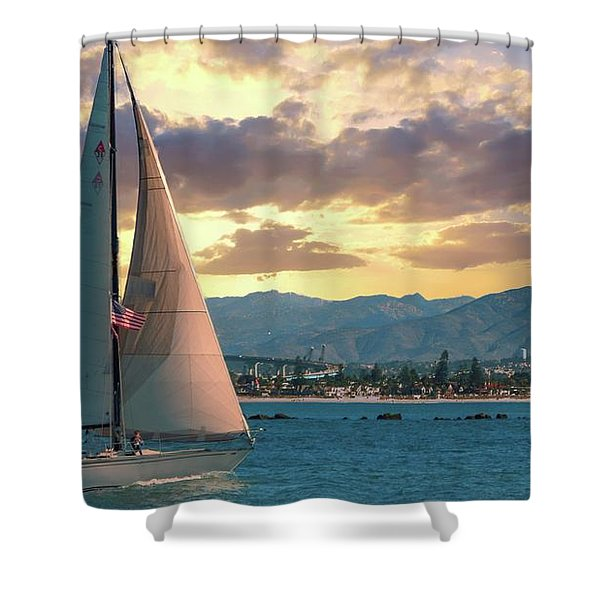 Sailing In San Diego Shower Curtain