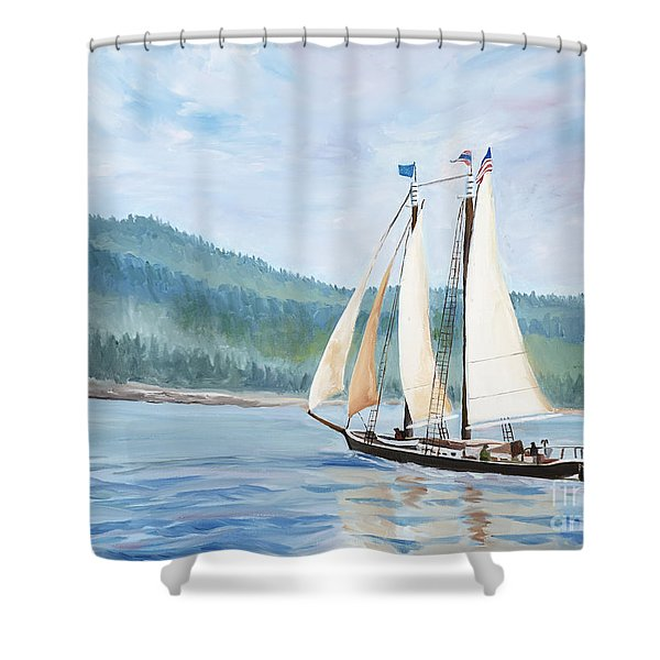 Sailing Into Castine Harbor Shower Curtain