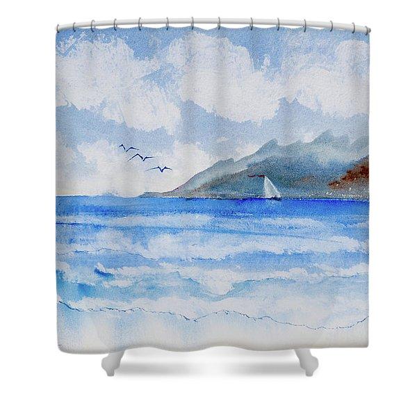 Sailing Into Moorea Shower Curtain