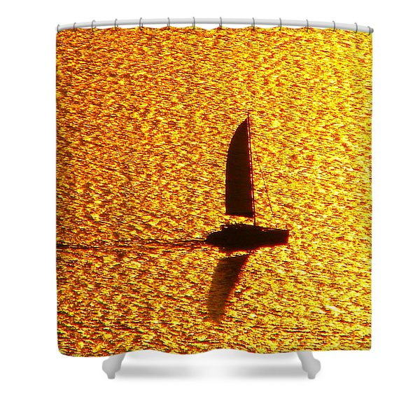 Sailing On Gold Shower Curtain