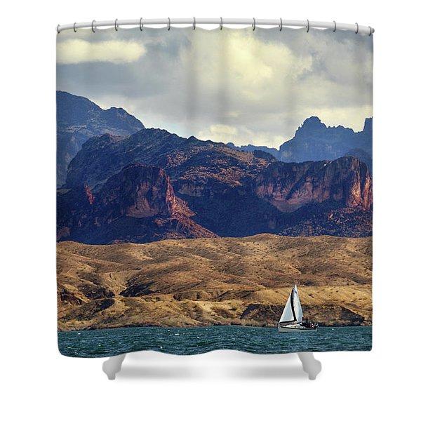 Sailing Past The Sleeping Dragon Shower Curtain